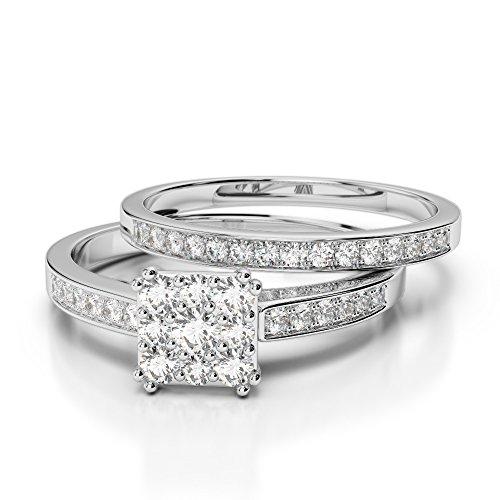 Or blanc 18carats 1CT G-H/VS sertie de diamants Coupe ronde de mariage Bague de fiançailles et ensemble de Agdr-2029