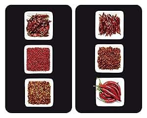 WENKO 2521406100 Cubierta de cocina Universal Chili - juego de 2 piezas para todos los tipos de cocinas, Vidrio endurecido, 30 x 1.8-4.5 x 52 cm, Multicolor