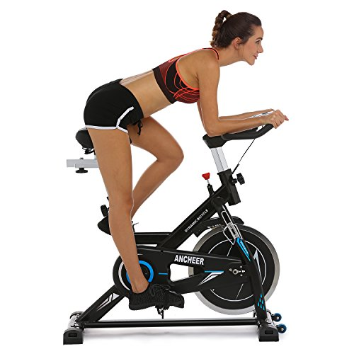 ANCHEER Indoor Cycling Bike, Belt Drive Indoor Exercise Bike with 49LBS Flywheel (Black)