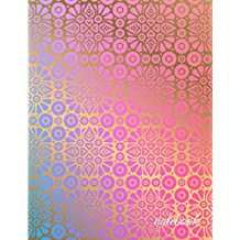 Graph Paper Notebook: 1/4 inch squares | Art Deco Floral Gold on Pink & Blue Soft Cover | Large (8.5 x 11 inches) Letter Size | 120 Square Grid Pages | Blank Quad Ruled Glam Notes