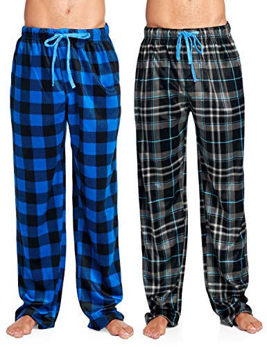 Ashford & Brooks Men's Mink Fleece Sleep Lounge Pajama Pants - 2 PK - Black Plaid/Royal Buffalo Check - 3X-Large