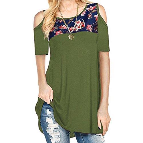 , Floral Printing Off Shoulder Short Sleeve Tops T-Shirt (New Black Wet Look Buckle)