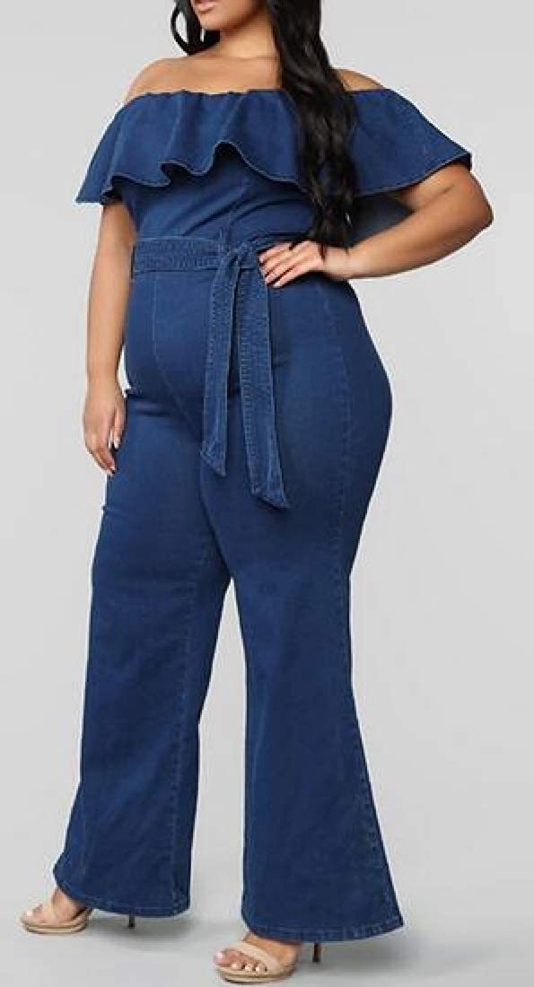 UUYUK Women Ruffle Denim Jeans Pants Off The Shoulder Plus Size Belted Jumpsuit Romper