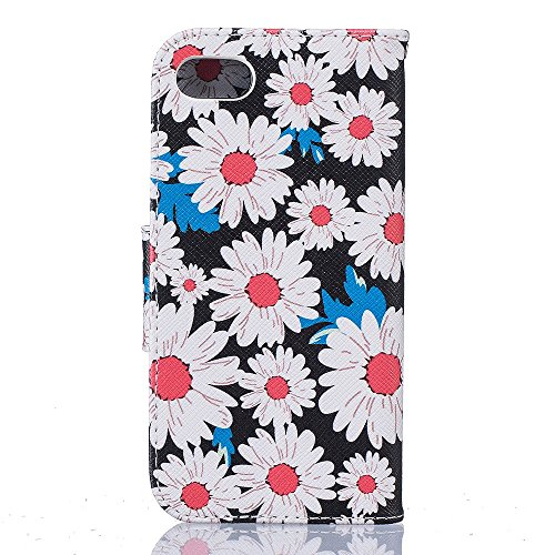 Chic Pattern Leather Wallet Phone Tasche Hüllen Schutzhülle - case Accessory for iPhone 7 4.7 - Weiß Daisy