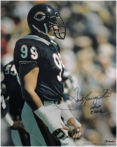 Dan Hampton Hand Signed Autographed 16x20 Photo Chicago Bears #99 Hof 2002 Black