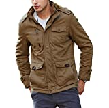 CRYSULLY Men's Fall Fashion Long Sleeve Lightweight Cargo Jacket Military Front Zip Coat Jacket Khaki