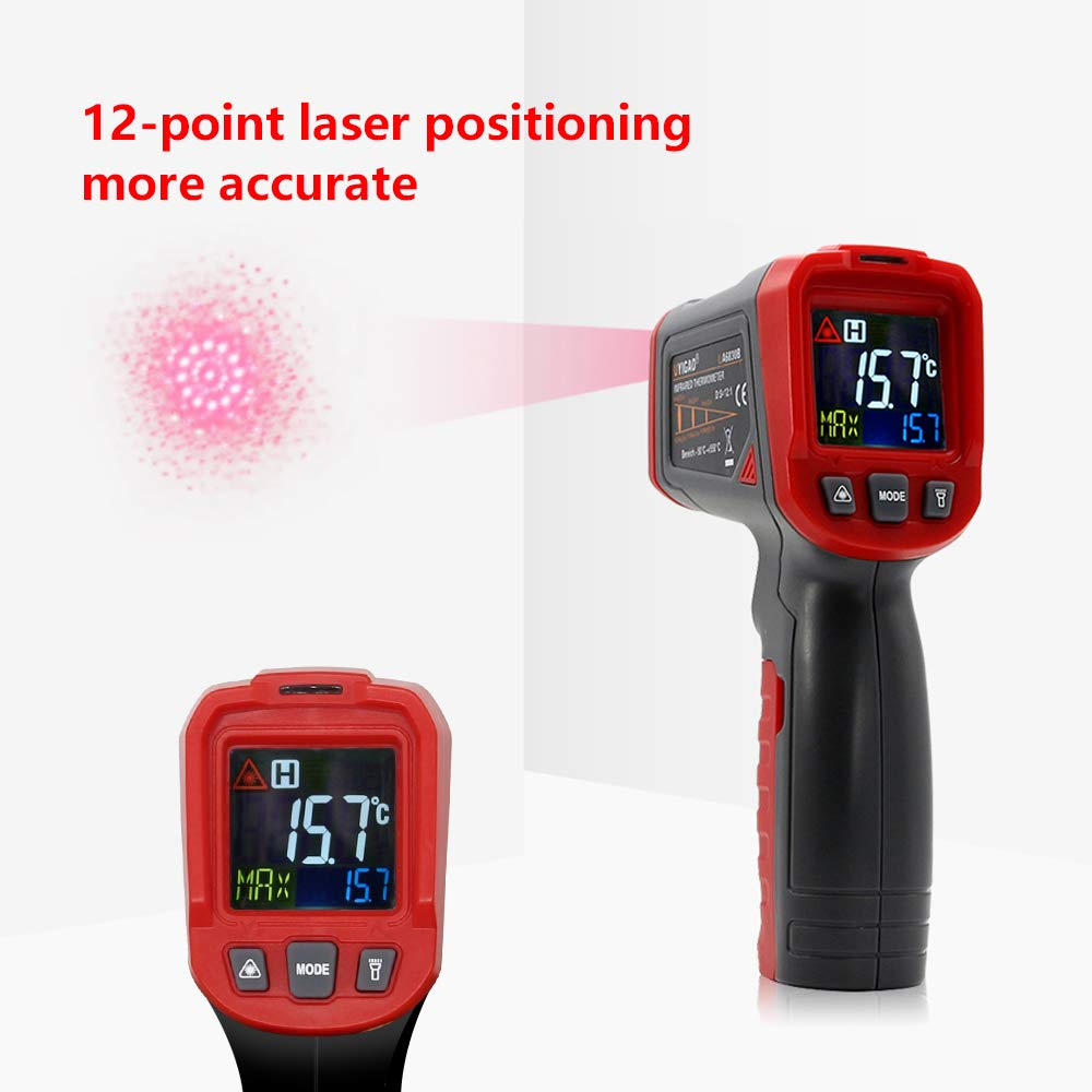 BDMETER Digital Infrared Thermometer, Non-Contact 12-Point Laser Temperature Gun -58℉~1022℉ with Adjustable Emissivity for Cooking/Industrial Needs/Meat Refrigerator