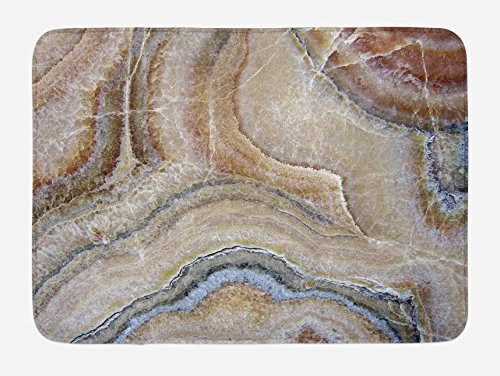 Ambesonne Marble Bath Mat, Surreal Onyx Stone Surface Pattern with Nature Details Artistic Picture, Plush Bathroom Decor Mat with Non Slip Backing, 29.5 W X 17.5 L Inches, Cinnamon Grey Tan Beige