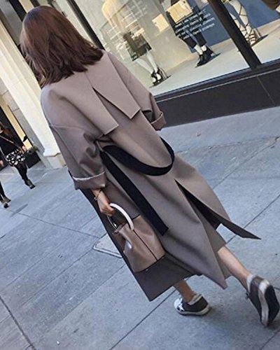 de con manga chaqueta Chaqueta pecho Abrigo doble Cardigan Casual cintur larga Windbreak Aeneontrue Coat Long Mujeres Outwear Trench ZYaqaR