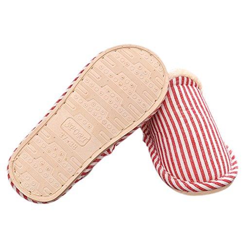 Meijunter Striped Warm Non-slip Zuhause Hausschuhe Indoor Cotton-padded Schuhe Red