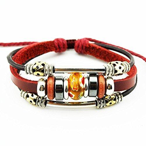 Real Spark Wine Red Fashion Silver Tone Tube Flowewrs Bead Adjustable Length Single Wrap Bracelet (Orange Leather Bracelet)
