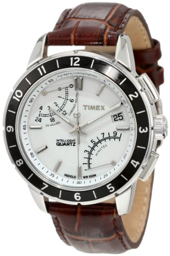 - Timex Men's T2N496 Intelligent Quartz SL Series Fly-Back Chronograph Brown Leather Strap Watch