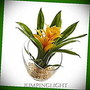 JumpingLight Tropical Bromeliad in Angled Vase, 8'', Yellow Artificial Flowers Wedding Party Centerpieces Arrangements Bouquets Supplies 67