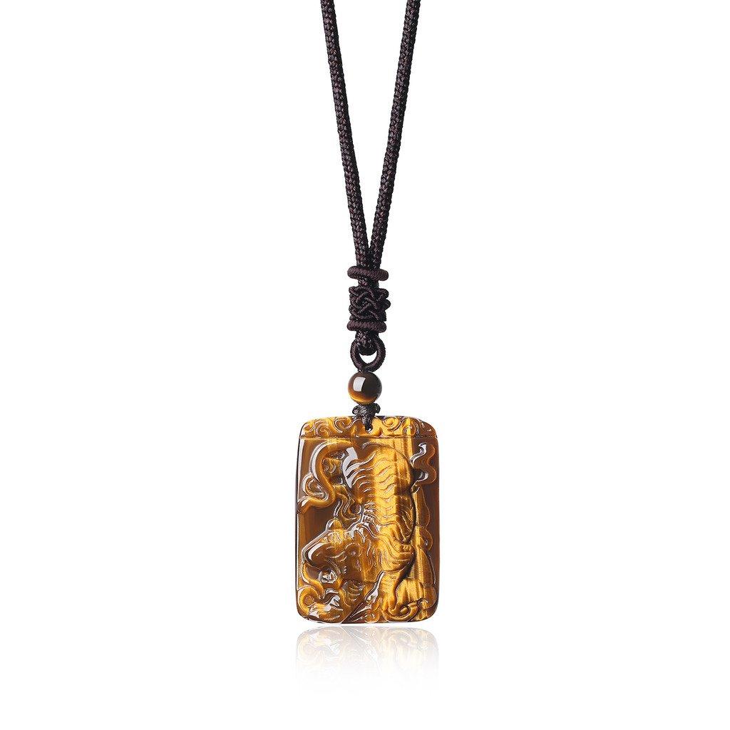 COAI® Geschenkideen Glückskette aus Gelbem Tigerauge Tiger Gravur Ketten für Herren N411-1U