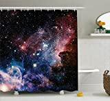 Pink and Navy Shower Curtain Ambesonne Space Decorations Collection, Stars Nebula, Colorful Explosive in Space Galaxy Astronomic Magical Picture Print, Polyester Fabric Bathroom Shower Curtain Set with Hooks, Navy Pink