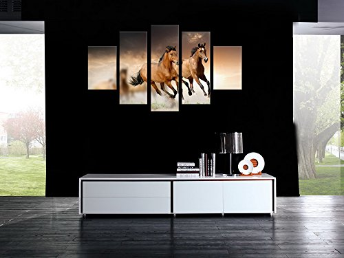 5 panel Large HD Printed Oil Painting Brown Galloping Horses Canvas Print Home Decorativve Wall Art Picture for Living Room No Frame