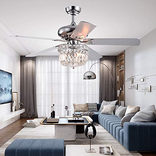 LuxureFan 52Inch Crystal Chrome Ceiling Fan with Light Gorgeous Crystal 3 Lights 5 Premium Wood Blade Led Chandelier Decoration Home/Living Room with Remote Control ()