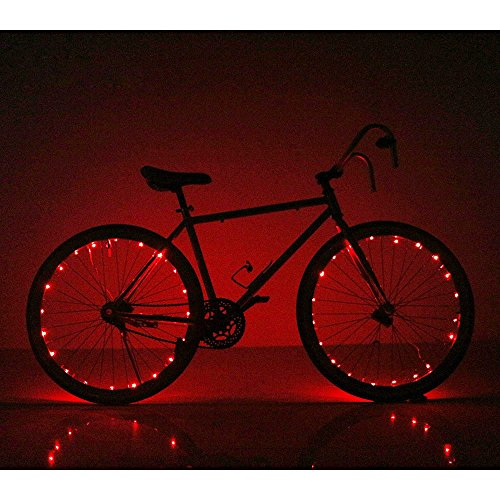 Bike Lights Bicycle Wheel Lights – Ultra Bright LED – Bike Wheel Light String (1 pack) – Assorted Colors Bicycle Tire Accessories- Burning Man Accessory – Red