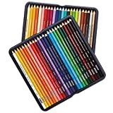 TableTop King 3598THT Premier 48-Color Assorted Woodcase Barrel 3mm Soft Core Colored Pencil Set - 48/Set