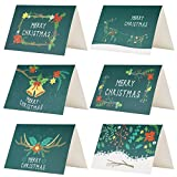 Kesoto Merry Christmas Greeting Cards - 24 Winter Holiday Xmas Greeting Cards, Envelopes and Stickers Included, 6 of Each Design, Blank Inside, 4 x 6 Inches, Green