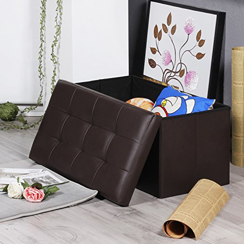 EPCTEK Storage Ottoma Leather Folding Stool,Storage Cube Basket Bins Organizer Containers, Coffee Table Cube, Camping Fishing Stool, Quick and Easy Assembly, Perfect for Child,30''x15''x15'' Cube.(Brown) by EPCTEK (Image #3)