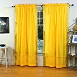 Yellow Rod Pocket Sheer Sari Curtain / Drape / Panel – 43W x 84L – Piece