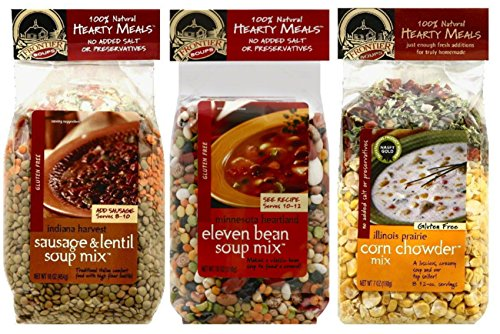 - Frontier Soups Hearty Meals 3 Flavor Variety Bundle: (1) Indiana Harvest Sausage & Lentil, (1) Minnesota Heartland 11-Bean and (1) Illinois Prairie Corn Chowder, 16 oz each (3 Bags Total)
