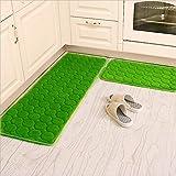 Kitchen Rugs,CAMAL 2 Pieces Non-Slip Memory Foam Kitchen Mat Rubber Backing Doormat Runner Rug Set (16''x24''+16''x48'', Grass Green)