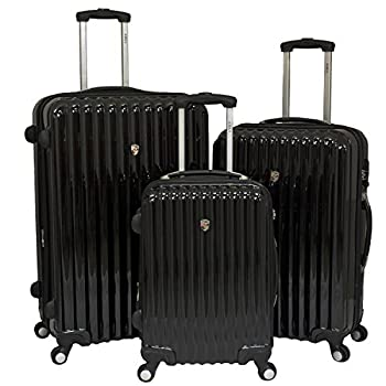 Image of Luggage AMKA Expandable 3-Piece Hardside Spinner Luggage Set with TSA Lock-Black
