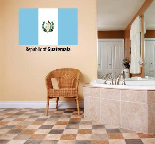 (Top Selling Decals - Prices Reduced : Republic Of Guatemala Flag Country Pride Symbol Sign / Banner Emblem - Home Decor Boys Girls Dorm Room Bedroom Living Room Picture Art Graphic Design Car Window Text Lettering Mural Size : 10 Inches X 20 Inches - Vinyl Wall Sticker - 22 Colors Available)