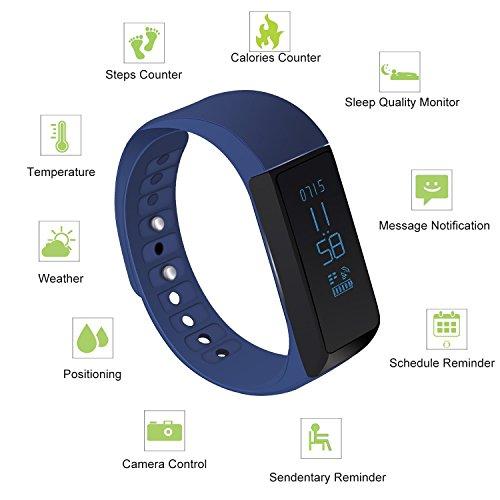 LUCOG Fitness Tracker Smart Bracelet Wristband - I5 Plus Activity Tracker Wellness Smart Watch Health Sleep Monitor w/ Step & Calorie Counter Morning Waking Up Vibration Alarm (I5 plus blue)