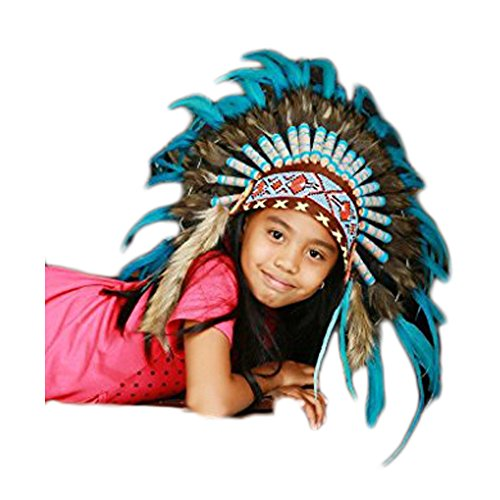 N32- from 5-8 Years Kid/Child's: Turquoise Feather Headdress 21 inch. - 53,34 cm. -
