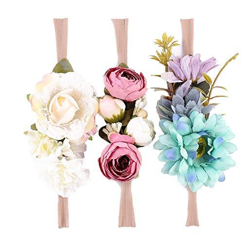Tieback Flower Crown Elastic Flower Headband Baby Girl Floral Crown Wreath Newborn Hair Accessories (3 Colors Pack - B)