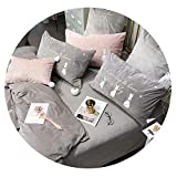 dark grey curtains asda Dreamedge bedclothes New Coral Fleece Embroidered Bedding Set Brand Rabbit Embroidery 4/5/6/7pcs Bed Set Quilt Cover Sheets Pillowcase,Gray,4pcs Queen