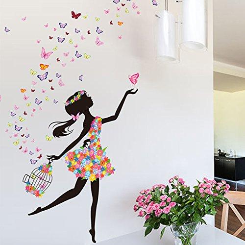 YUFENG Removable DIY PVC Wall Sticker Decor Flower Fairy Princess Butterfly  Dancing Girls, Sweet Romance Flower Fairy Princess Moon Girl Wall Stickers  ...