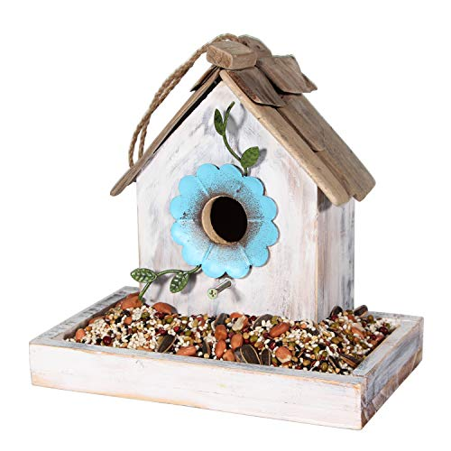 Tenforie Bird Feeder House for Outside Hanging, Wooden Birdhouse Bluebird House Feeder Handcrafted Hut (White)
