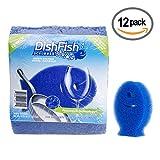 DishFish Scrubber, Non-Scratch Non-Smelling Ergonomic Multi-purpose Cleaning Sponge, 12 Count, Blue