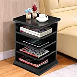 Topeakmart 4-Shelf Magazine Rack Chair/Sofa Side End Table Nightstand Book Storage Stand for Living Rooms/Reading Nooks, Black