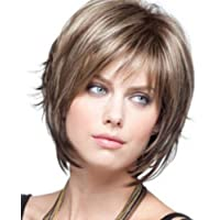 Daerzy Perucas de cabelo loiro curto com franjas Perucas de cabelo ondulado resistente ao calor Perucas de cabelo…