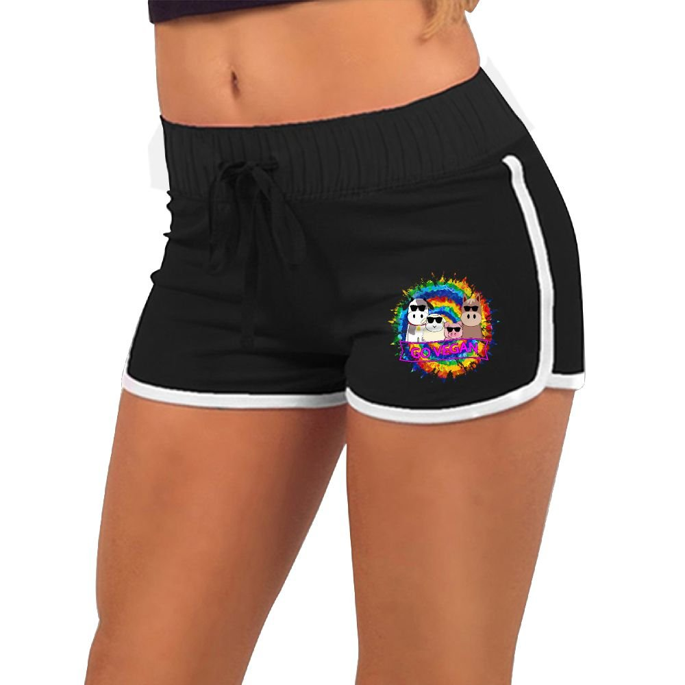Baujqnhot Go Vegan Animal With Cool Glasses Girls Comfort Waist Workout Running Shorts Pants Yoga Shorts