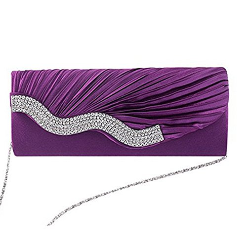 Purse Handbag Bag Diamante Wallet Black Wedding Satin Bridal Crystal Bag Evening Fashion Women's Prom Vincenza Elegant Party Lace Satin Red Clutch Ladies Purple Tn7Ia