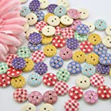 mahaohao 100pcs Mixed Wooden Buttons in Bulk Buttons for Crafts Button Round Colorful Painting Buttons 3/8""