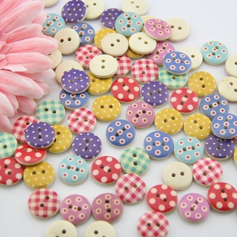 mahaohao 100pcs Mixed Wooden Buttons in Bulk Buttons for Crafts Button Round Colorful Painting Buttons Bu-91 ()