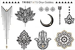 TribeTats Onyx Goddess Black Metallic Temporary Tattoos | Henna Inspired Jewelry Tattoos | Apply In A Flash | Boho Music Festival Accessories | Moon, Mandala, Hamsa, Arrow, Flowers, Armbands