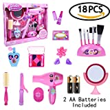 Girl's Pink Fashion Stylish Beauty Makeup Hair Salon Barber Pretend Play Toy Set 18pcs