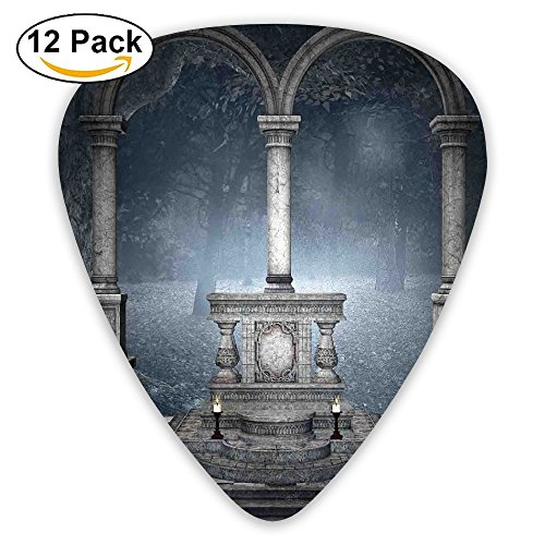 Newfood Ss Altar On Checkered Floor In Scary Hazy Winter Forest Spiritual Scenery Illustration Guitar Picks 12/Pack Set]()