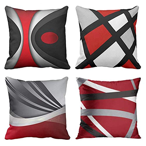 Emvency Set of 4 Throw Pillow Covers Modern Abstract Red Stripes Gray Black White Acrylic Bold Grey Decorative Pillow Cases Home Decor Square 20x20 Inches Pillowcases
