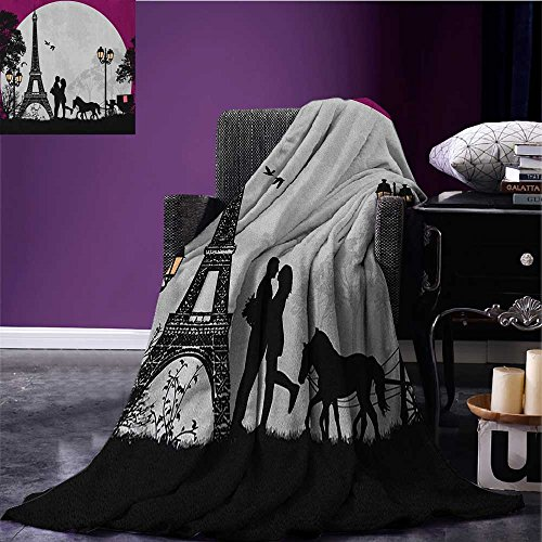 Romantic throw blanket Horse Carriage Couple Hugging in front of the Eiffel Tower and Full Moon miracle blanket Fuchsia Grey Black size:50