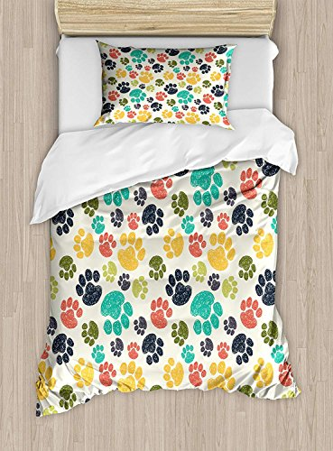 Big buy store Dog Lover Duvet Cover, Cute Hand Drawn Paw Print Doodles Circular Pattern Children Drawing Style Animal, Decorative 4 Piece Bedding Set 2 Pillow Sham, Multicolor(Queen)