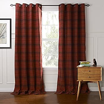 IYUEGO Classic Country Plaid Jacquard Grommet Top Curtains Draperies With Multi Size Custom 50 W